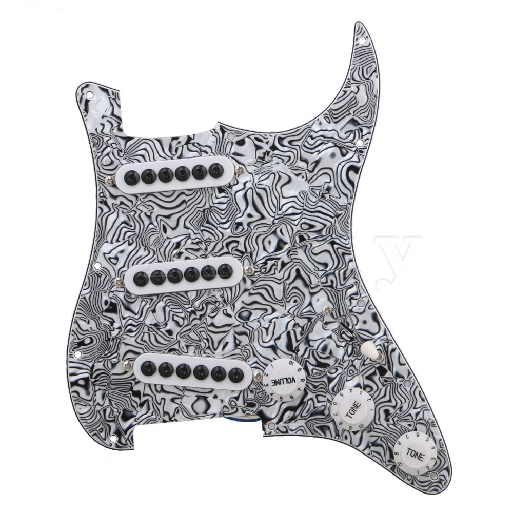 Yibuy Black White Zebra Color 3-ply SSS Electric Guitar Loaded Prewired Pickup Pickguard for Electric Guitar mikado gumowe color 7042 sss ll