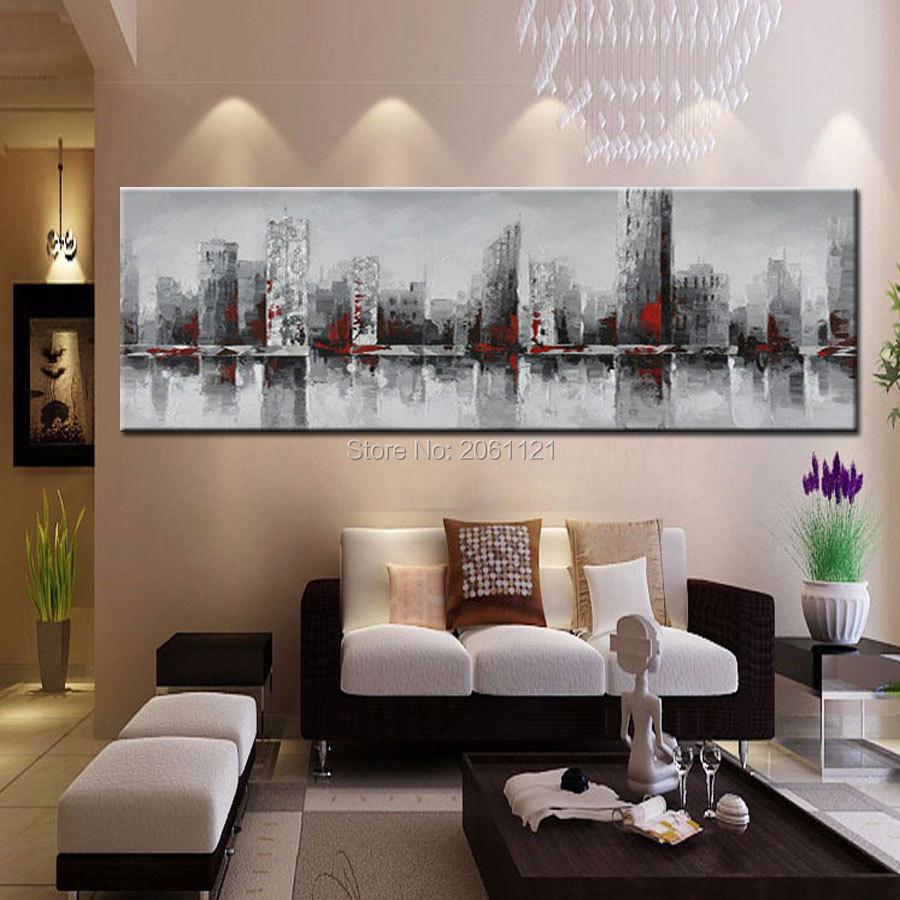 ručno oslikana ogromna široka apstraktna zidna slika grada New - Kućni dekor - Foto 2