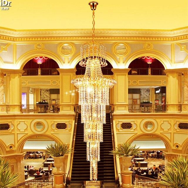 Golden Yellow Villa Penthouse Etage Halle Lampe Wohnzimmer Kristall Scheinwerfer Treppen Kronleuchter Lmy