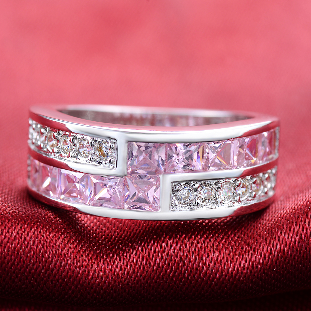 XKAI White silver color Round Rings for Women Pink Simulated stone ...