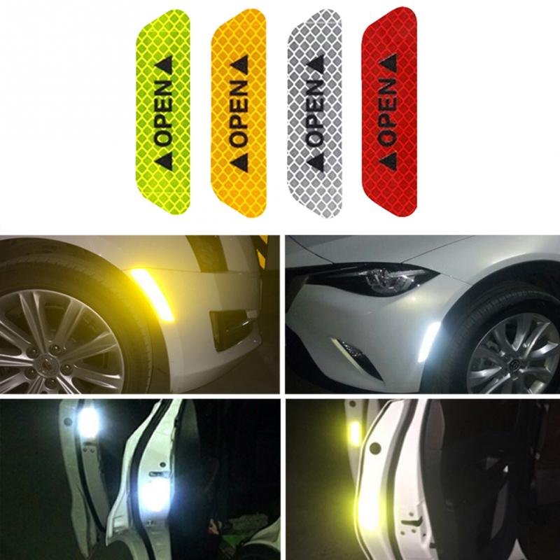 4Pcs/set Warning Mark Reflective Tape Universal Exterior Accessories Car Door Stickers OPEN Sign Safety Reflective Strips 4pcs set open car door stickers auto warning mark reflective strips tail rear reflective tape driving safety