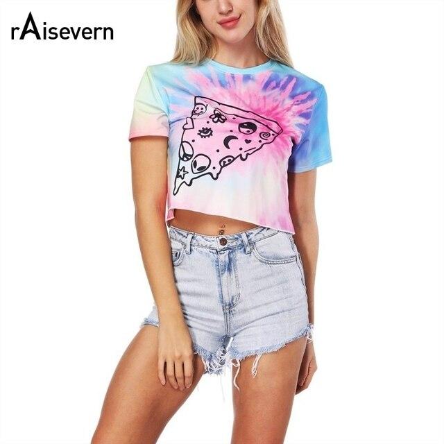 91c026820ea Raisevern Loose High Waist Women T Shirt Tie Dye Cute Pizza Print Crop Top  Round Neck