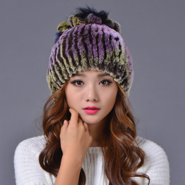 38c631c6 Russia Women Rex Rabbit Fur Hat Winter Warm Knitted Fur Hat with Fox Fur  PomPoms Cap