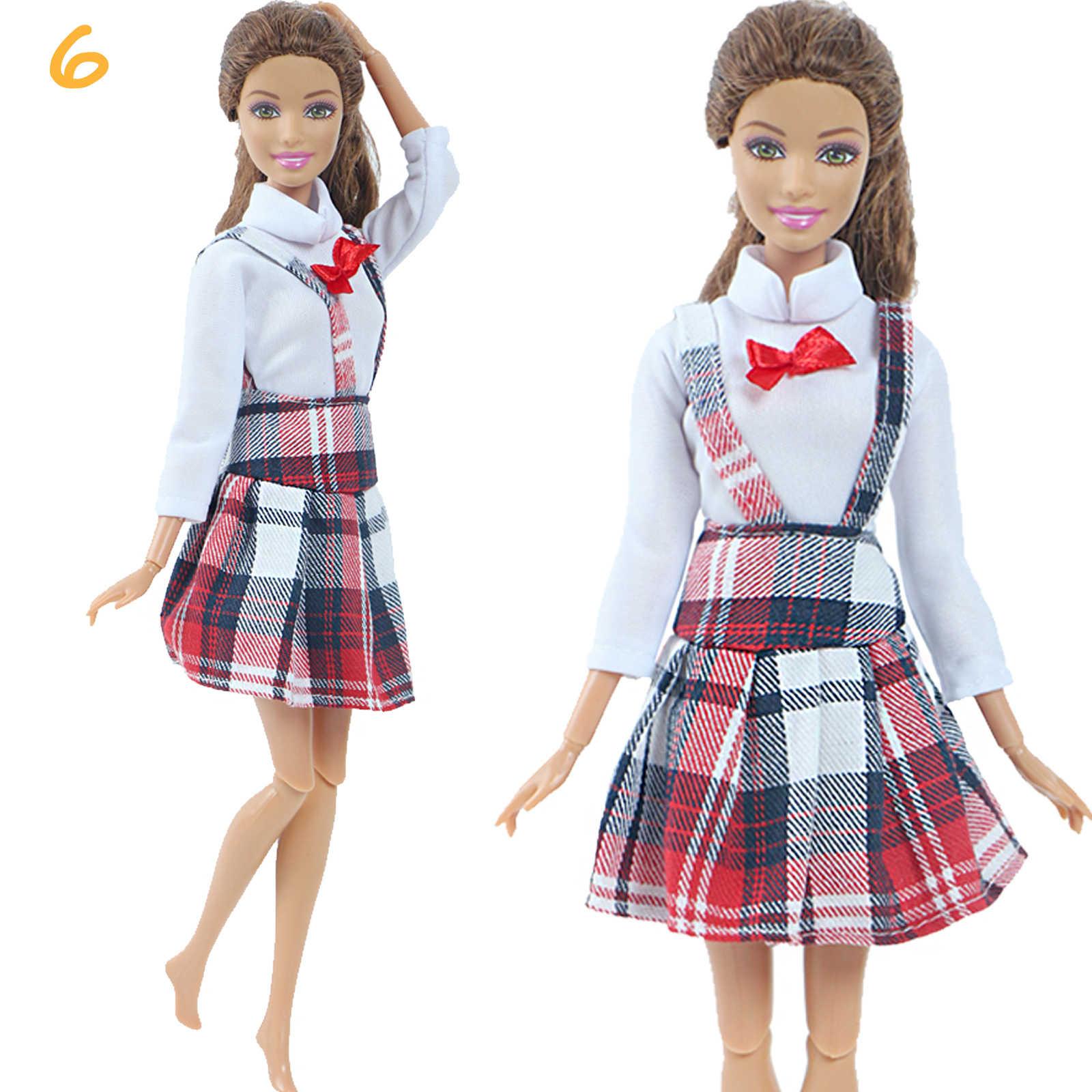 1ชุดแฟชั่นMulticolorชุดWave Pointเสื้อDenimกระโปรงสบายๆสวมใส่เสื้อผ้าสำหรับตุ๊กตาบาร์บี้