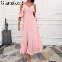 Glamaker Cold Shoulder Ruffle Chifon Maxi Dress Women Halter Party Dress Vestidos High Split Casual Summer