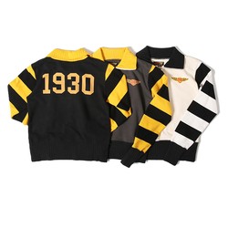 BOB DONG 1930 Vintage Racing Jersey Men's Cotton Patchwork Striped Sweatshirts