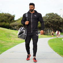 2017 Men Joggers Pantalon Pants Zipper Pocket Embroidery Slim Feet Trousers Fitness Pants bodybuilding sweatshirt Hoodies