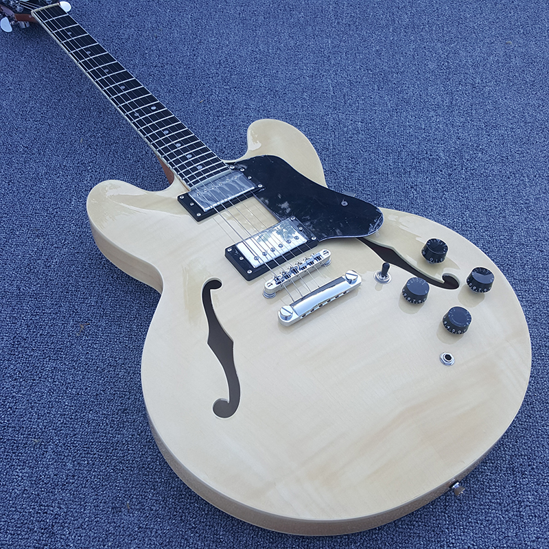 High quality Custom 335 Jazz Electric Guitar Semi Hollow Body Archtop Guitar,The real wood color,Real photos,free shipping high quality tl guitar map panel transparent brown custom electric guitar 6 strings guitars real photos free shipping