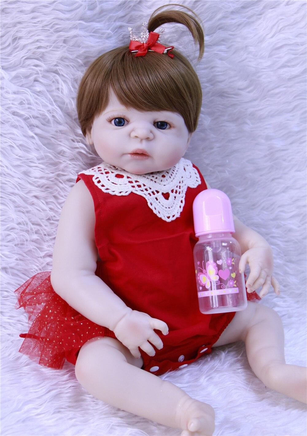 NPK girl doll reborn full silicone body 23 bebes reborn menina de silicone menina 55 cm