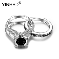 YINHED Fashion 18KRGP Stamp Gold Filled Rings Black Cubic Zircon Couple Rings Set Wedding Jewelry Accessories