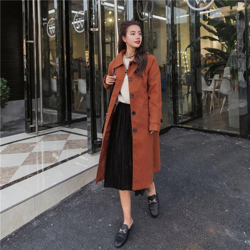 Manteau Solide Pour Turn De Noir Unique À Veste clair 2018 Poitrine Femmes Poches Taille Les Laine Long Large down Décontracté Et Col Vêtements pw4gqIq