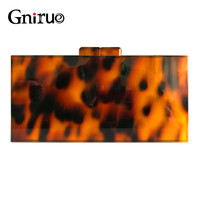 Fashion Design Leopard Pattern Acrylic Clutches Bag Tortoiseshell Print Evening Bags Women Messenge Bag Ladies Party Handbags