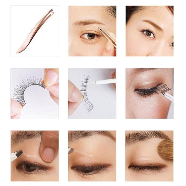 1Pc Pearl Gold Stainless Steel Epilation Eyebrow Tweezers Clip Nose Tweezers Eyebrow Beauty Makeup Tools 1