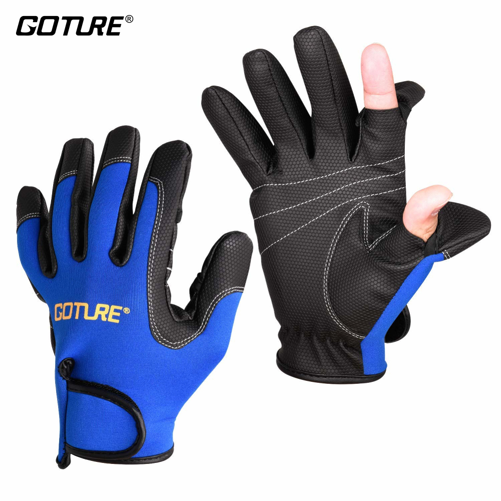 Goture Outdoor Sports 2 Cut Fingers/Full Finger Gloves Anti-slip Waterproof Size L/XL for Fishing Hunting Riding Cycling