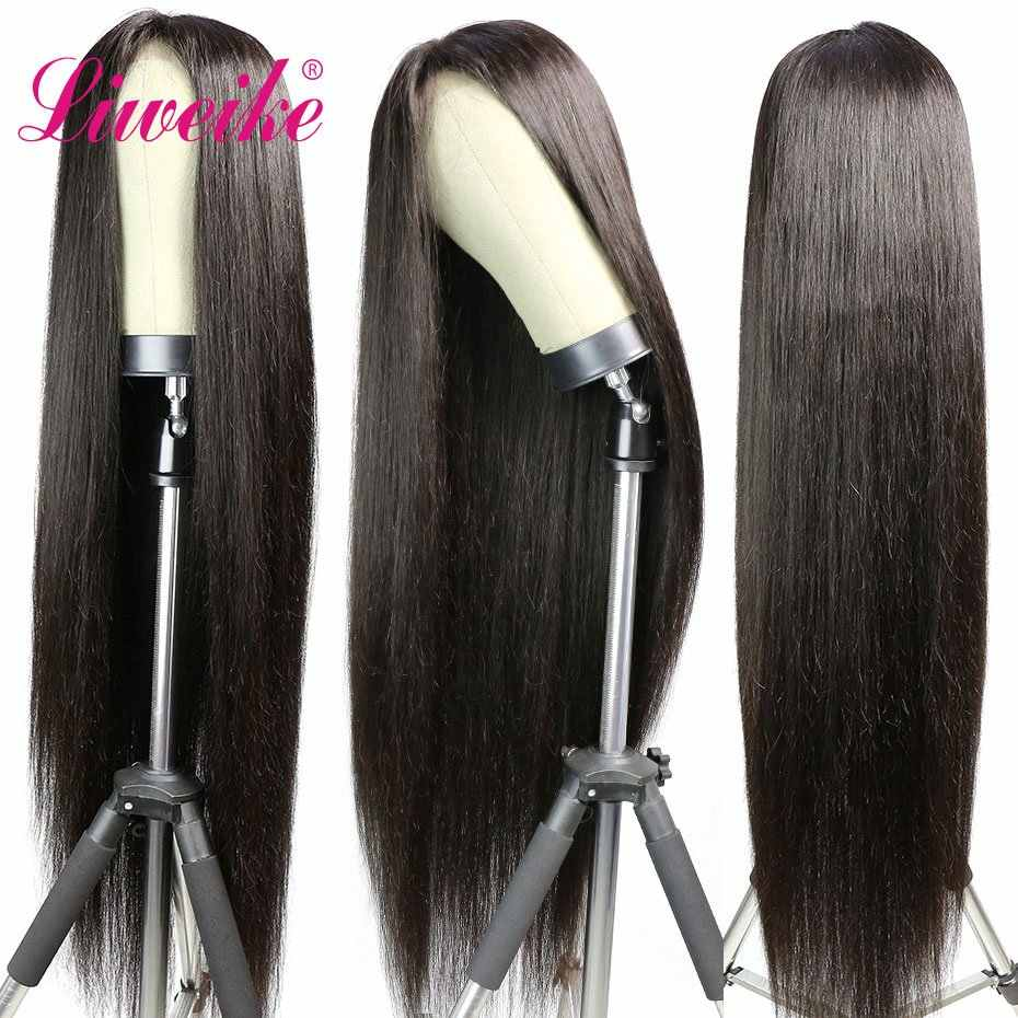 Liweike Straight Remy Human Hair Wigs Bundles With 13x6 Lace Frontal 360 Lace Wigs 38 40 42 Inches130% 180% Density 1B color Wig