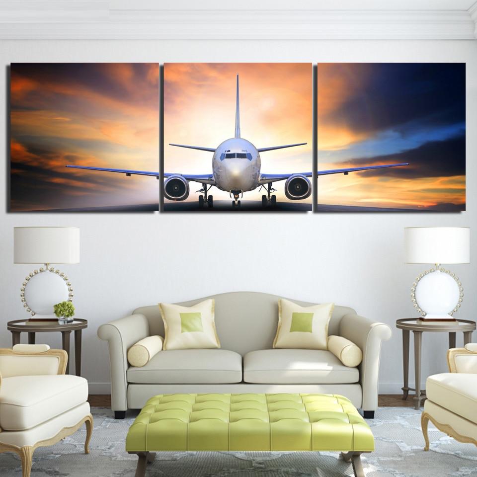 Modern Canvas Printed Decor Modular Wall Art Airplane Painting ...