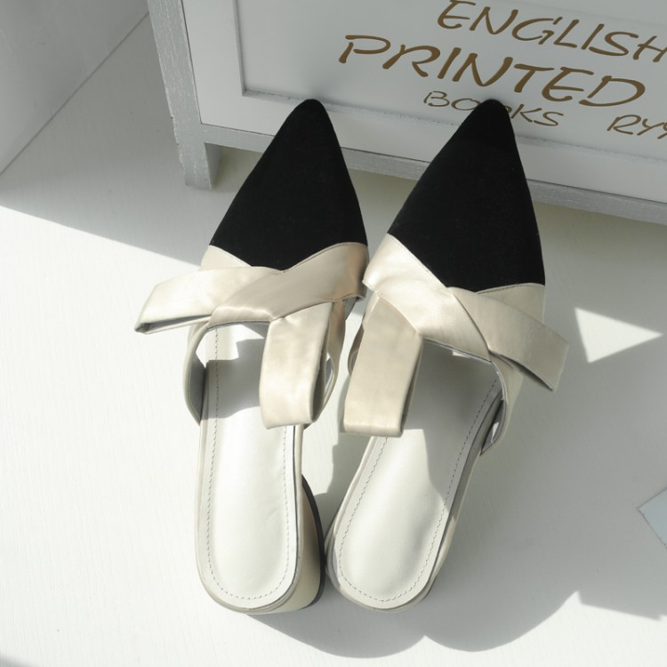 noeud Pantoufles Talon Nouveau gris 2018 Dames Bout Faible Diapositives Sandales Chaussures Accueil Noir D'été Femme Pointu Papillon Européenne PnqdZ