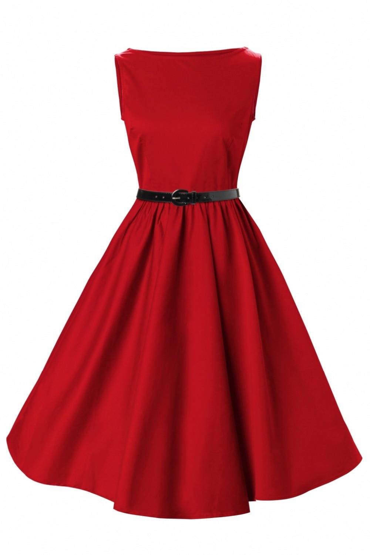 Vintage dresses online red robe rouge boat neck sleeveless elegant novelty dress drop shipping free