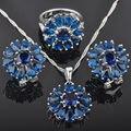 Flor De Piedra Azul de Las Mujeres 925 Pendientes de Plata de La Joyería/Colgante/Collar/Anillos Envío Gratis QZ026