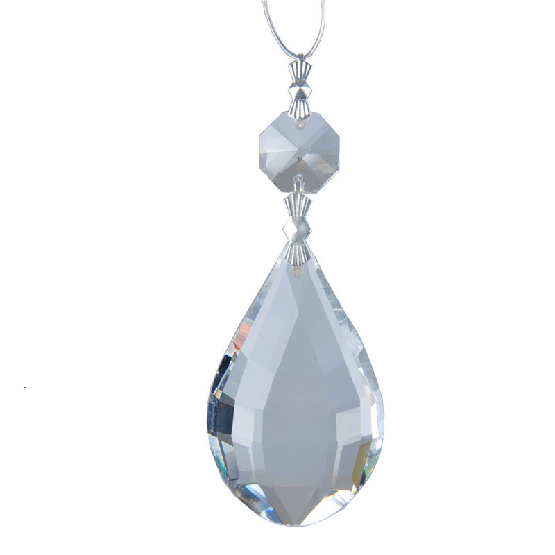 50mm Clear Round  Glass Crystal Prisms Pendants Chandeliers Parts With Octagonal Garland Chakra Spectra Lustres Hang Drops Decor