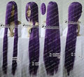 HOT sell Free Shipping >>>226 New long Purple Black Cosplay Party Wig 150cm