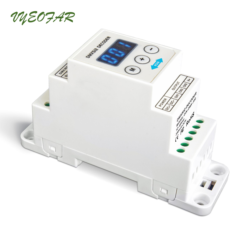 Ltech Led DMX512 Decoder CC Constant Current Decoder;DC12-48V input;350mA*3CH output Din Rail 3 Channel DIN Rail DIN-DMX-350 new ltech led dmx decoder 4ch cc rgb strip dmx decoder dc12 48v in 700ma 4ch output dc12 46v output 4 channel dmx pwm decoder