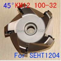 Free Shipping KM12 100 32 45 Degree Shoulder Face Mill Head for SEHT1204