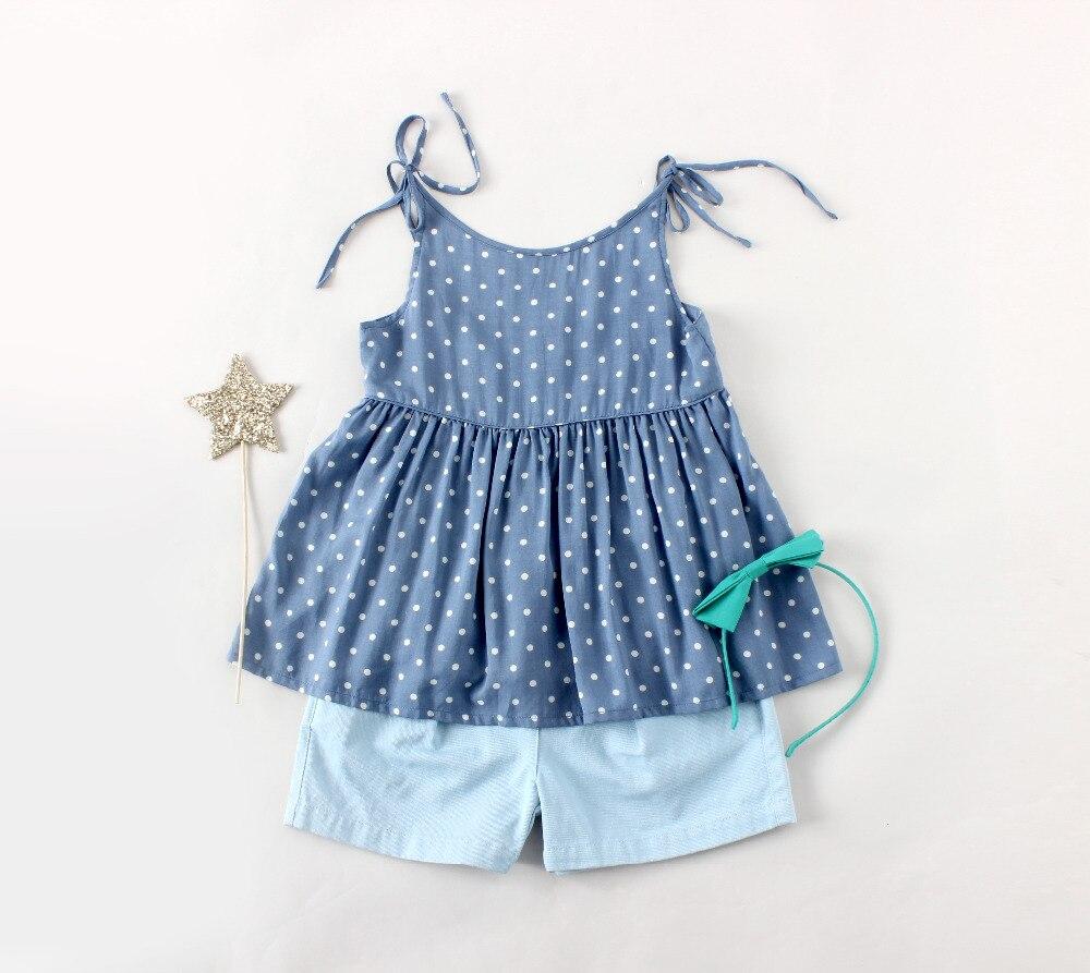 ФОТО girls clothing sets 100cm to 130cm girls two piece sets kids girls dress and short  Dot print kids dress blue short children