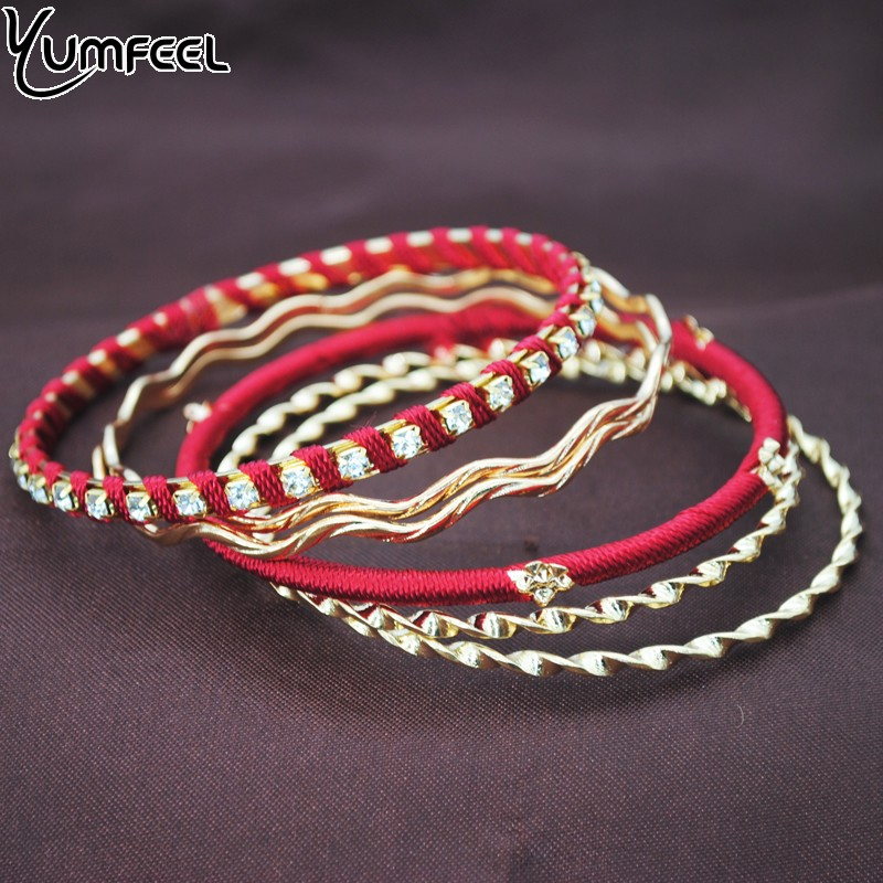 Yumfeel Brand Fashion Bracelets & Bangles For Women Dance Metal Bracelet Set Gift Wholesale Women India Jewelry|Bangles| |  - AliExpress