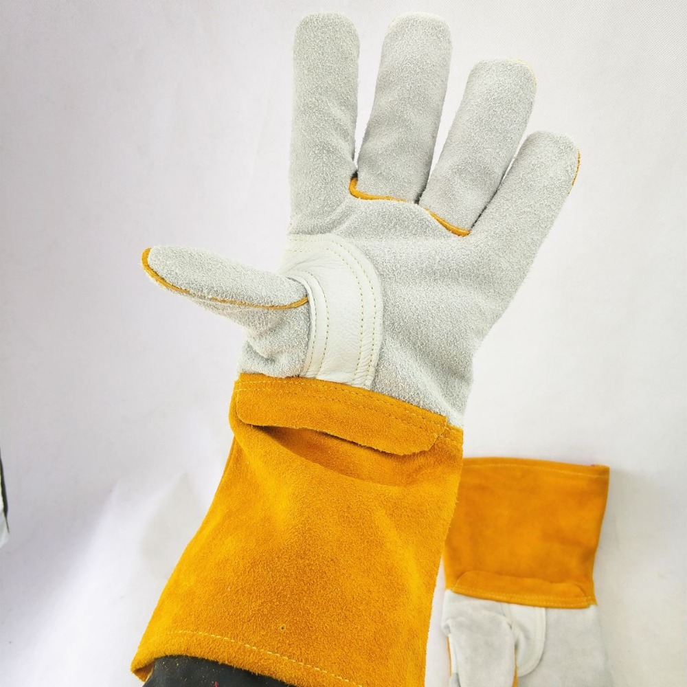 14inch TIG Welding Calfskin 36cm Palm MIG CE Leather Cowhide Worker Stick  Welding Amp Reinforced Amp Gloves Gloves Thumb Split