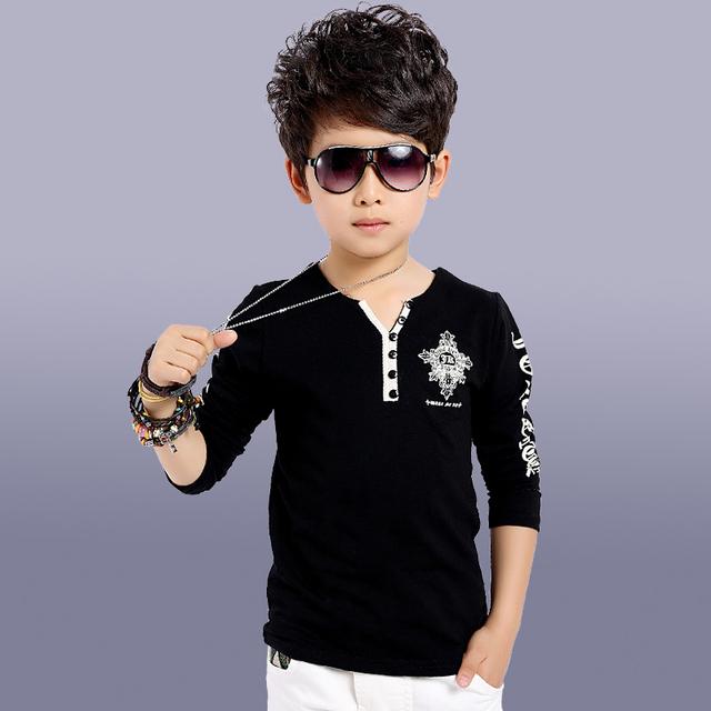 Ropa medianamente grande masculino infantil 2016 primavera y otoño negro y blanco de manga larga básica V-cuello de La Camiseta larga-camisa de manga
