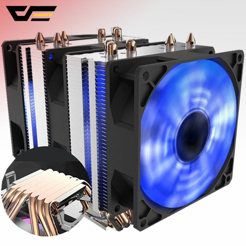 Aigo-enfriador de CPU Darkflash, 6 tubos de calor con ventilador led de 3 pines, 90mm, ventilador de CPU puede ser ins para ordenador 775/LGA/2011/115x/1366 AM2/AM3/AM4