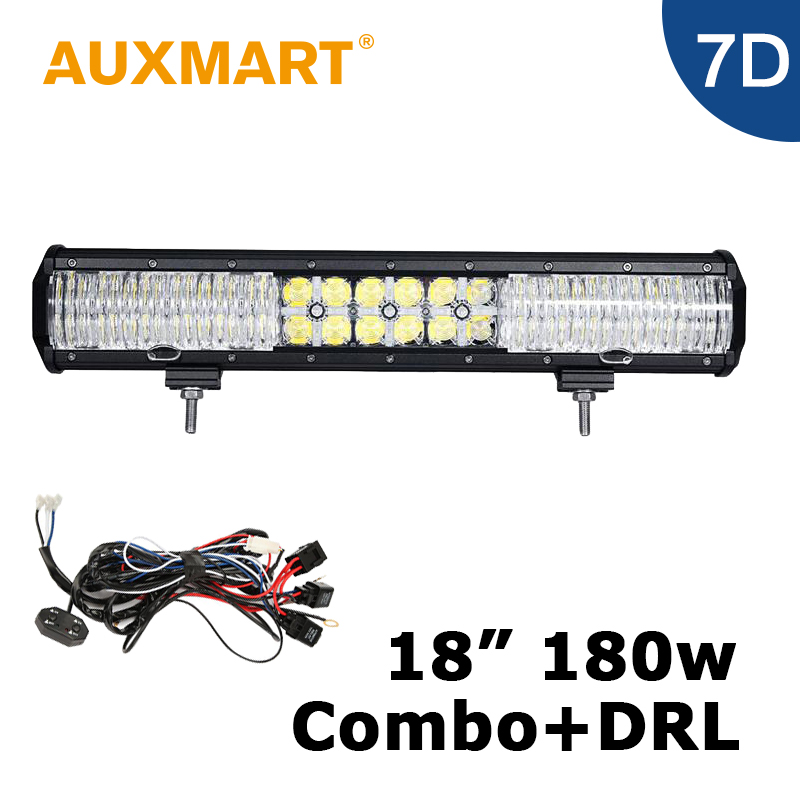 Auxmart 18 inch 7D LED Light Bar 180W  Led Car Light Bar Offroad 12V 24V Truck ATV RZR 4WD For Jeep Toyota Nissan VW auxmart universal car roof rack cross bar 120cm for nissan subaru toyota suzuki oldsmobile load carrier cargo luggage 68kg