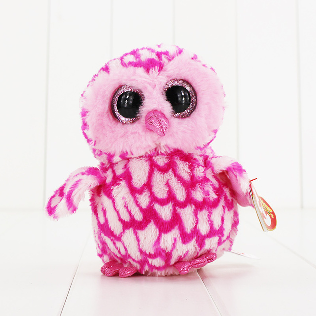 15cm Ty Beanie Boos Big Eyes Plush Toy Doll Pink Owl TY Baby Kids Gift  Collection Soft plush toys bd64cb21a19