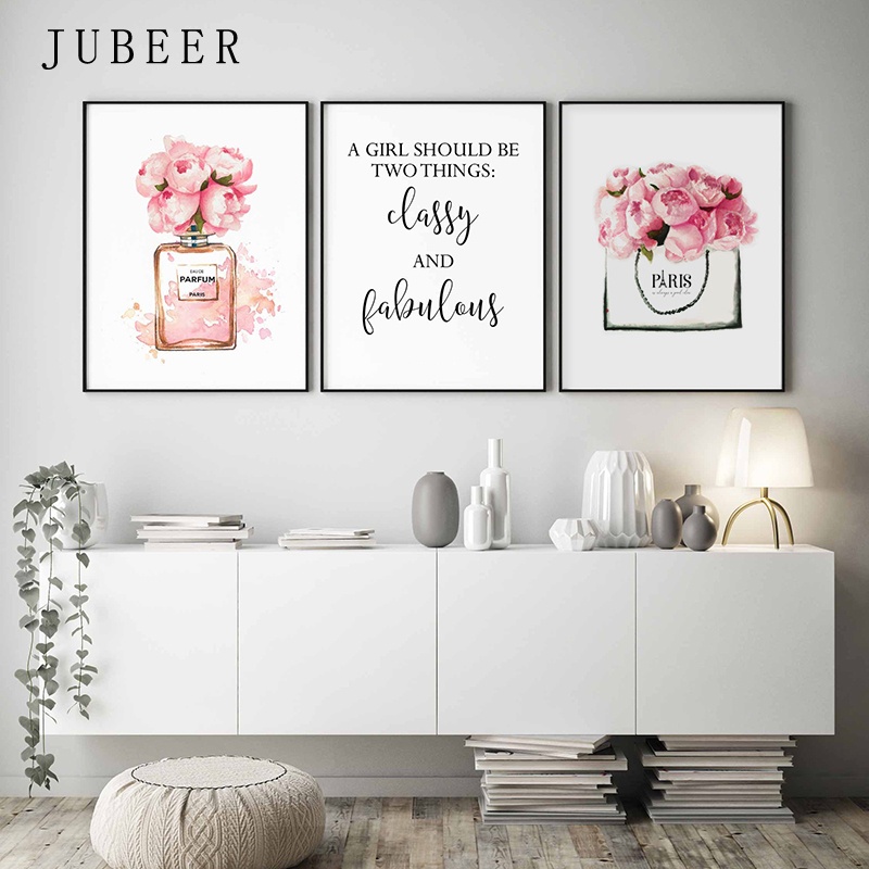 US $2.82 53% OFF|Nordic Style Fashion Wall Art Classy and Fabulous Quote  Canvas Painting Perfume Bottle Posters and Prints Bedroom Wall Decor-in ...