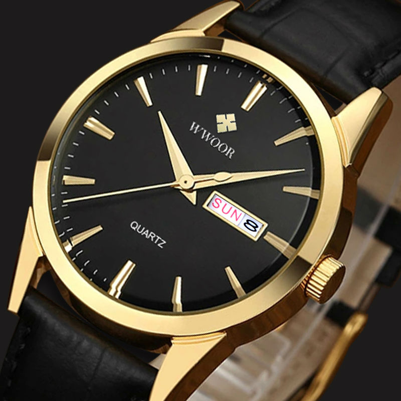 WWOOR Brand Genuine Cow Leather Strap Male Date Clock Men Casual Quartz Watch Men Wrist Sport Watch Fashion Relogio Masculino wwoor waterproof ultra thin date clock male stainess steel strap casual quartz watch men wrist sport watch 3 colors