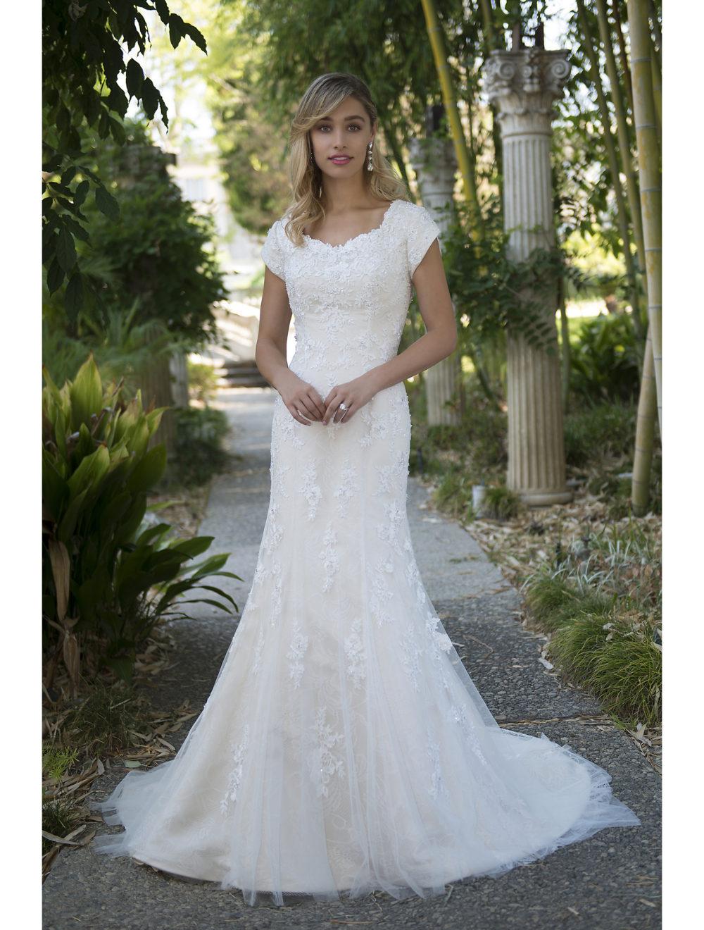 Vintage Champagne Lace Mermaid Modest Wedding Dresses 2019 Cap Sleeves Wedding Gowns Robe De Mariage Couture Vestido De Noiva October 2020