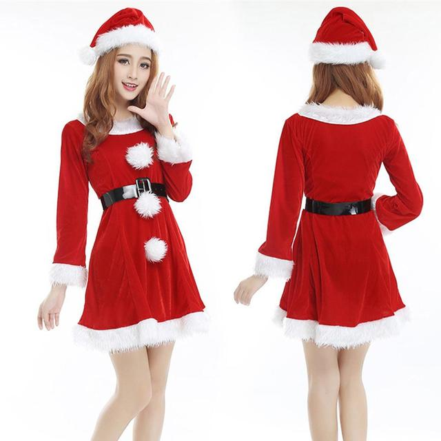 0e693e26801 One Set Christmas Female Santa Claus Costume With Belt Hat Red Dress White  Fur Ball Christmas