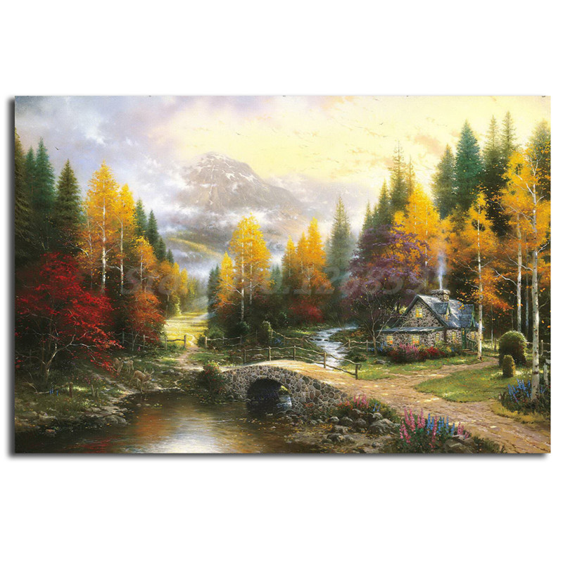 The valley of peace thomas kinkade canvas painting print - Home interiors thomas kinkade prints ...