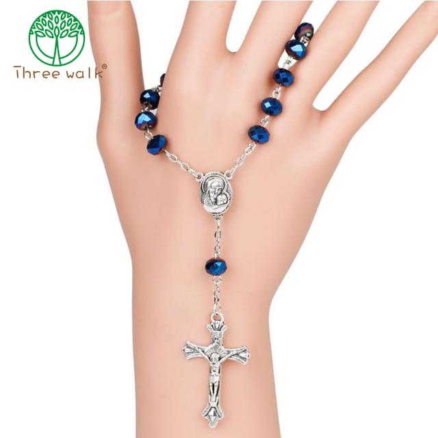 10pcs Dark Blue Glass Beads Catholic One-Decade Rosary INRI Crucifix Bracelet Auto Rosaries Holy Soil Inside