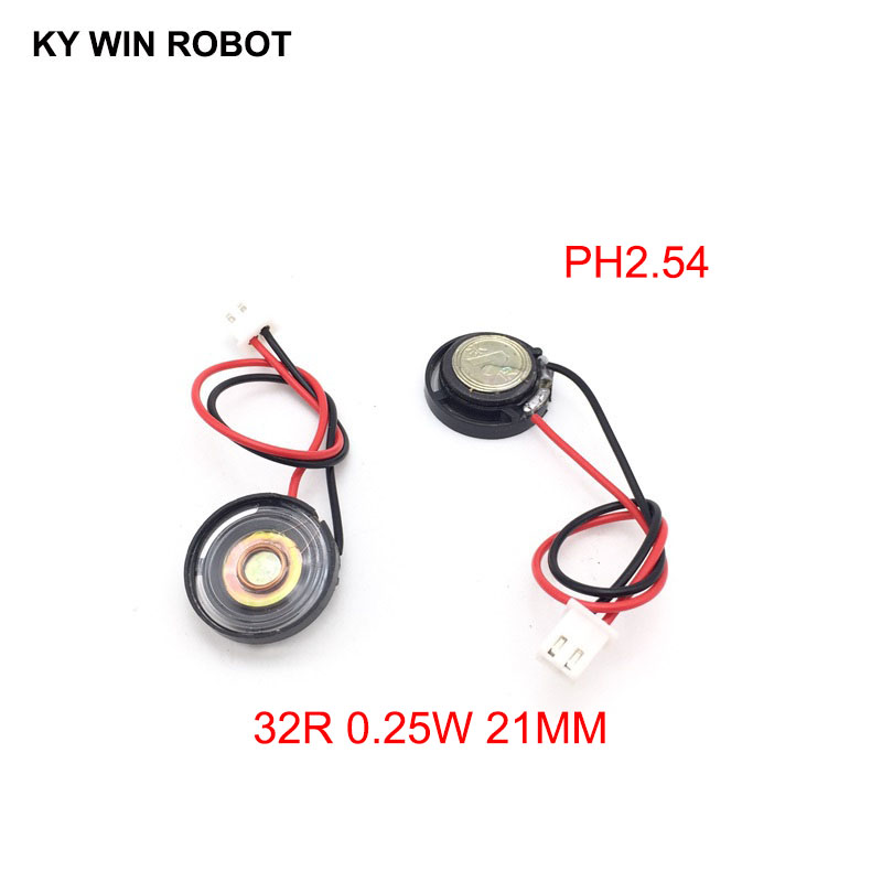 2pcs New Ultra-thin Toy-car Horn 32 Ohms 0.25 Watt 0.25W 32R Speaker Diameter 21MM 2.1CM With PH2.54 Terminal Wire Length 10CM