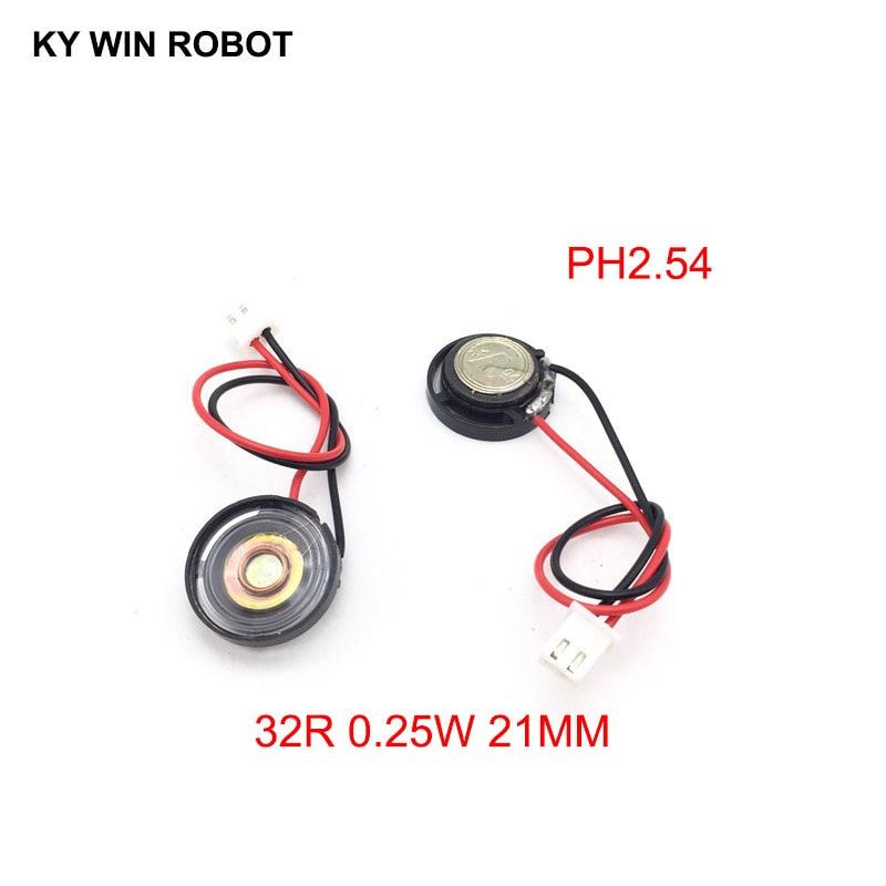 2pcs New Ultra-thin Toy-car Horn 32 Ohms 0.25 Watt 0.25W 32R Speaker Diameter 21MM 2.1CM With PH2.54 Terminal Wire Length 10CM