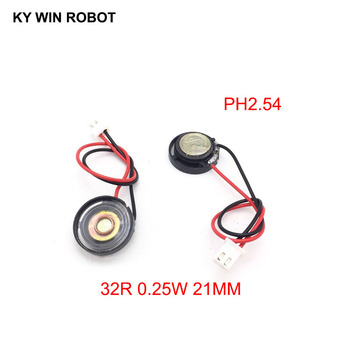 2pcs New Ultra-thin Toy-car horn 32 ohms 0.25 watt 0.25W 32R speaker Diameter 21MM 2.1CM with PH2.54 terminal wire length 10CM image