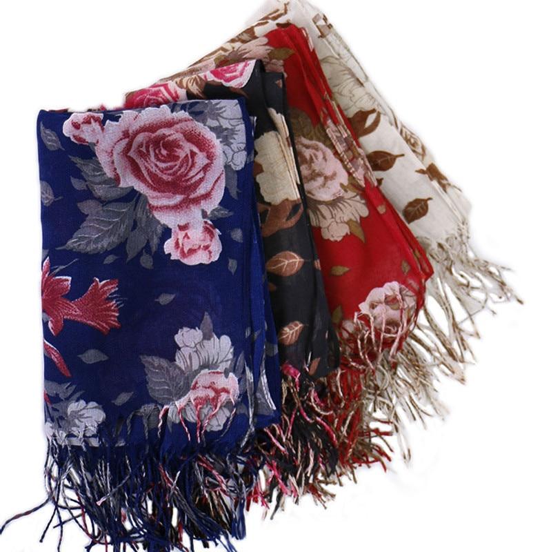 Brand 2019 Viscose Autumn Winter Women Vintage Floral Warm Cashmere Scarves Shawls Luxury Neck Bandana Pashminas Lady Wrap Snood