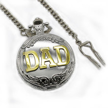 silver & golden  steampunk vintage bronze pocket watch with chain  pendant for women men for dad father gift big chain