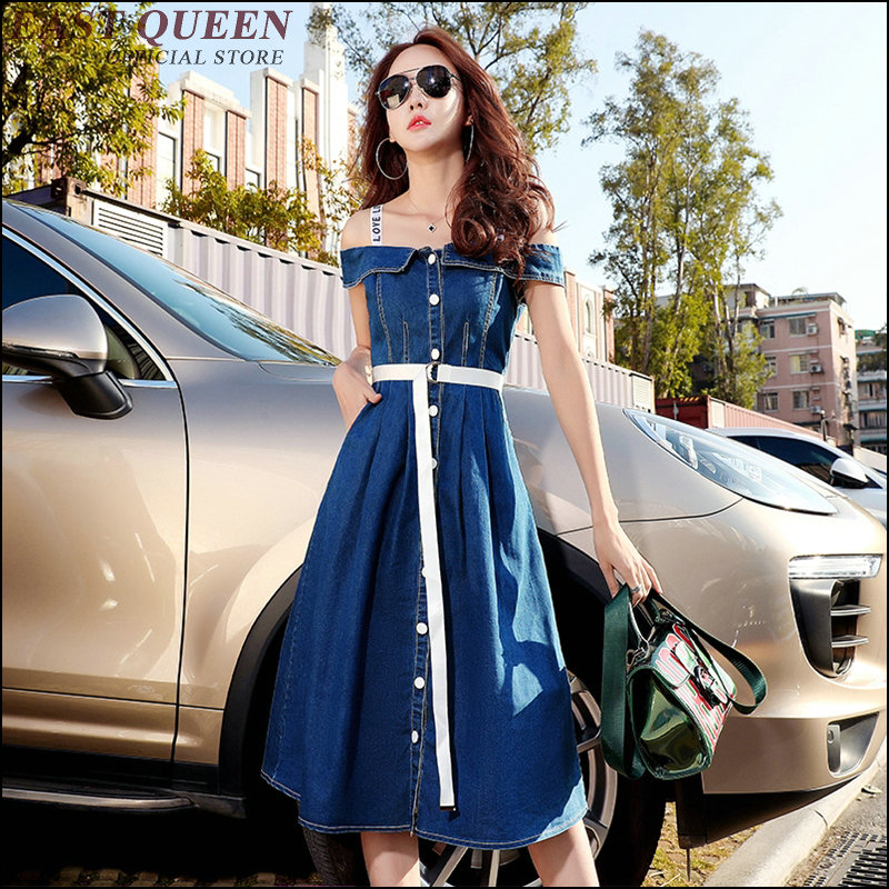 Denim dresses women 2018 sundresses womens summer cold shoulder tunic with belt womens dresses new arrival