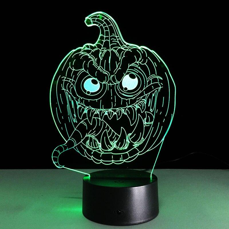 3D Pumpkin Light Acrylic USB Led Halloween Lamp Kids Boys Bedroom Hallowmas Decoration Gifts CLH@8