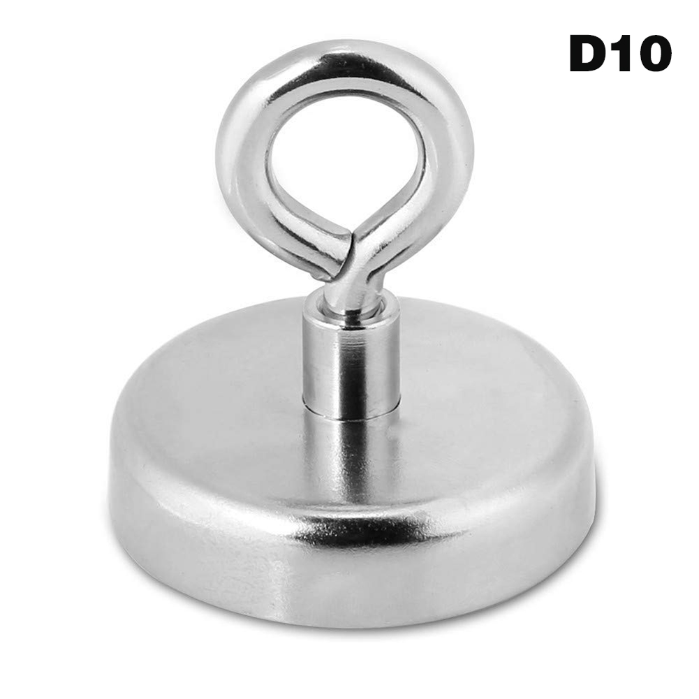 Strong Neodymium Magnet Round Pull River Fishing Magnetic Eyebolt Silver