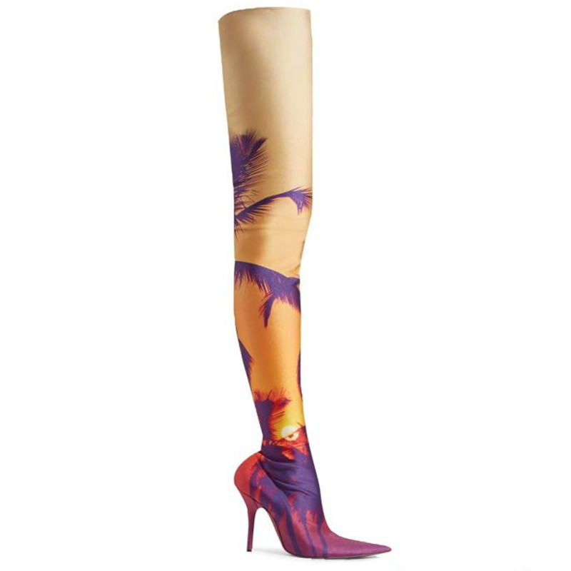 Tronçon Sur Femmes Bout Bottes Cuisse Tissu Fleur Mujer Stilettos Pointu Mixed Colors Haute Sexy Chaussures Dames Le Imprimer Botas Nouveau Genou Pour zwSqz