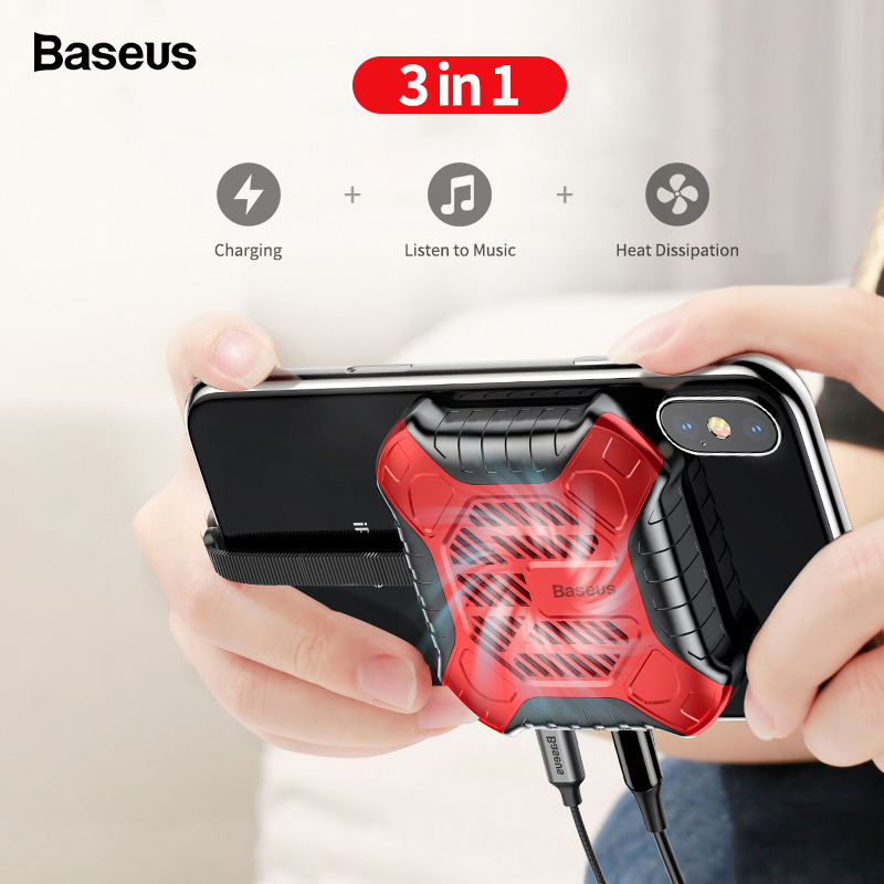 Baseus 3 in 1 Mobile Phone Cooler For iPhone X 8 7 6 6S Plus 5S SE Game Heat Sink Audio Radiator with Aux Charging Cable Adapter mobile phone